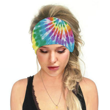 Load image into Gallery viewer, Hummingbird Tie Dye - E Print Multifunctional Headband offers a secure fit to hold your hair back, and along with moisture-wicking fabric, allows you to stay fresh and focused on your workout. Perfect for all sorts of workout activities. Also suitable for daily wear as a hair band, head wrap, bandana, face cover, morning makeup and nighttime moisturizing. This Tie Dye Print Multifunctional Headband is lightweight, breathable, odor control, stretchy and soft.