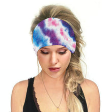 Load image into Gallery viewer, Hummingbird Tie Dye - B Print Multifunctional Headband offers a secure fit to hold your hair back, and along with moisture-wicking fabric, allows you to stay fresh and focused on your workout. Perfect for all sorts of workout activities. Also suitable for daily wear as a hair band, head wrap, bandana, face cover, morning makeup and nighttime moisturizing. This Tie Dye Print Multifunctional Headband is lightweight, breathable, odor control, stretchy and soft.