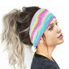 Load image into Gallery viewer, Hummingbird Tie Dye - F Print Multifunctional Headband offers a secure fit to hold your hair back, and along with moisture-wicking fabric, allows you to stay fresh and focused on your workout. Perfect for all sorts of workout activities. Also suitable for daily wear as a hair band, head wrap, bandana, face cover, morning makeup and nighttime moisturizing. This Tie Dye Print Multifunctional Headband is lightweight, breathable, odor control, stretchy and soft.