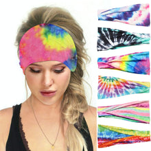 Load image into Gallery viewer, Hummingbird Tie Dye Print Multifunctional Headband (7 Patterns) offers a secure fit to hold your hair back, and along with moisture-wicking fabric, allows you to stay fresh and focused on your workout. Perfect for all sorts of workout activities. Also suitable for daily wear as a hair band, head wrap, bandana, face cover, morning makeup and nighttime moisturizing. This Tie Dye Print Multifunctional Headband is lightweight, breathable, odor control, stretchy and soft.
