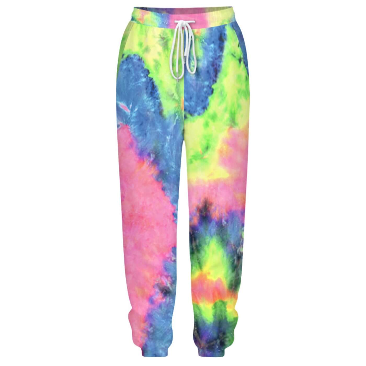 Hummingbird Tie Dye Print Drawstring Joggers - Pastel A features loose fit with elastic waistband and cuffed hem, an adjustable drawstring and side pockets. Perfect for any daily activities from workout to casual lounging. Digital printing technology keeps tie dye patterns intact after wear and tear. Complete the look with a sweatshirt, sports bra, crop top, crop tank and more because they go with almost anything in your closet!