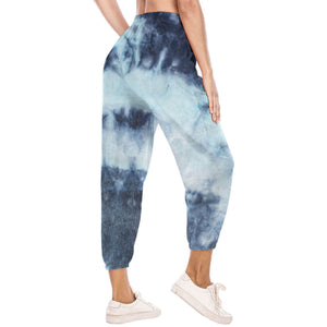 Hummingbird Pastel Tie Dye Drawstring Joggers - Navy & Grey features loose fit with elastic waistband and cuffed hems, an adjustable drawstring and side pockets. Perfect for any daily activities from workout to casual lounging. Due to the nature of tie dye, each joggers are slightly different and have their unique patterns, which means you can't find the same joggers anywhere else! Made of stretchy and soft material.