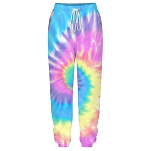Hummingbird Tie Dye Print Drawstring Joggers - Spiral features loose fit with elastic waistband and cuffed hem, an adjustable drawstring and side pockets. Perfect for any daily activities from workout to casual lounging. Digital printing technology keeps tie dye patterns intact after wear and tear. Complete the look with a sweatshirt, sports bra, crop top, crop tank and more because they go with almost anything in your closet!