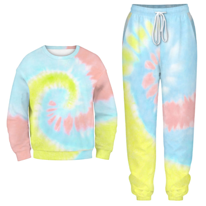 Hummingbird Tie Dye Print Sweatshirt & Joggers Set - Spiral includes a long sleeve sweatshirt featuring a crew neckline and drop shoulders. Matching joggers are loose fitting with elastic waistband and cuffed hems, an adjustable drawstring and side pockets. Individual items are available for mix and match. Digital printing technology keeps tie dye patterns intact after wear and tear. Perfect for any daily activities from workout to casual lounging.