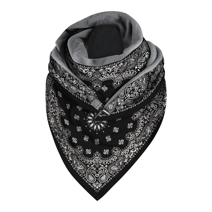 Keep yourself warm pre- and post-exercise and spruce up you winter athleisure look with this Triangle Fleece Button Wrap Scarf - Bohemian Paisley Black. Featuring fashionable digital prints on the outside and warm cozy polar fleece interior, this triangle blanket scarf is a nifty item to throw on in the cold days to and from the gym, and everywhere in between. Duck clasp allows easy handling and styling. This scarf can be worn as a traditional triangle blanket scarf, an infinity scarf, a cover-up and more.
