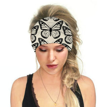 Load image into Gallery viewer, Hummingbird Tropical Printed - Butterfly B Multifunctional Headband (7 Patterns) offers a secure fit to hold your hair back, and along with moisture-wicking fabric, allows you to stay fresh and focused on your workout. Perfect for all sorts of workout activities. Also suitable for daily wear as a hair band, head wrap, bandana, face cover, morning makeup and nighttime moisturizing.