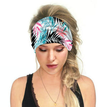 Load image into Gallery viewer, Hummingbird Tropical Printed - Leaf E Multifunctional Headband (7 Patterns) offers a secure fit to hold your hair back, and along with moisture-wicking fabric, allows you to stay fresh and focused on your workout. Perfect for all sorts of workout activities. Also suitable for daily wear as a hair band, head wrap, bandana, face cover, morning makeup and nighttime moisturizing.