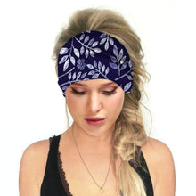 Load image into Gallery viewer, Hummingbird Tropical Printed - Leaf B Multifunctional Headband (7 Patterns) offers a secure fit to hold your hair back, and along with moisture-wicking fabric, allows you to stay fresh and focused on your workout. Perfect for all sorts of workout activities. Also suitable for daily wear as a hair band, head wrap, bandana, face cover, morning makeup and nighttime moisturizing.