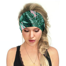 Load image into Gallery viewer, Hummingbird Tropical Printed - Leaf D Multifunctional Headband (7 Patterns) offers a secure fit to hold your hair back, and along with moisture-wicking fabric, allows you to stay fresh and focused on your workout. Perfect for all sorts of workout activities. Also suitable for daily wear as a hair band, head wrap, bandana, face cover, morning makeup and nighttime moisturizing.