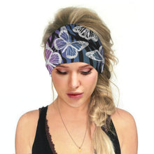 Load image into Gallery viewer, Hummingbird Tropical Printed - Butterfly A Multifunctional Headband (7 Patterns) offers a secure fit to hold your hair back, and along with moisture-wicking fabric, allows you to stay fresh and focused on your workout. Perfect for all sorts of workout activities. Also suitable for daily wear as a hair band, head wrap, bandana, face cover, morning makeup and nighttime moisturizing.