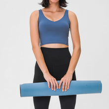 Load image into Gallery viewer, Take your active look from studio to street with this V Neck Crop Tank Top Longline Sports Bra - Navy. Featuring v neckline and low cut scoop back, this fitted crop tank top is ideal for low impact activities, be it for workouts, running errands or lounging. With a 14-16 inch / 37-41 cm length, this cute longline sports bra kisses your high waisted pants, and is easy to layer. Perfect for low impact exercise like weight training, yoga, cycling, spinning, dancing and more.
