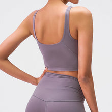 Load image into Gallery viewer, Take your active look from studio to street with this V Neck Crop Tank Top Longline Sports Bra - Smoky Purple. Featuring v neckline and low cut scoop back, this fitted crop tank top is ideal for low impact activities, be it for workouts, running errands or lounging. With a 14-16 inch / 37-41 cm length, this cute longline sports bra kisses your high waisted pants, and is easy to layer. Perfect for low impact exercise like weight training, yoga, cycling, spinning, dancing and more.