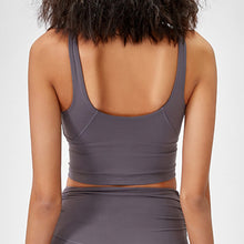 Load image into Gallery viewer, Take your active look from studio to street with this V Neck Crop Tank Top Longline Sports Bra - Grey. Featuring v neckline and low cut scoop back, this fitted crop tank top is ideal for low impact activities, be it for workouts, running errands or lounging. With a 14-16 inch / 37-41 cm length, this cute longline sports bra kisses your high waisted pants, and is easy to layer. Perfect for low impact exercise like weight training, yoga, cycling, spinning, dancing and more.
