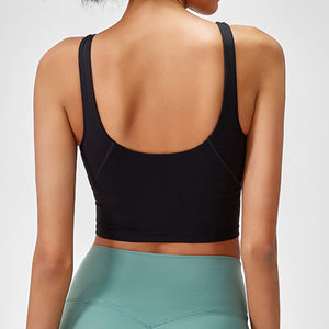 Take your active look from studio to street with this V Neck Crop Tank Top Longline Sports Bra - Black. Featuring v neckline and low cut scoop back, this fitted crop tank top is ideal for low impact activities, be it for workouts, running errands or lounging. With a 14-16 inch / 37-41 cm length, this cute longline sports bra kisses your high waisted pants, and is easy to layer. Perfect for low impact exercise like weight training, yoga, cycling, spinning, dancing and more.
