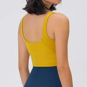 Take your active look from studio to street with this V Neck Crop Tank Top Longline Sports Bra - Mustard Yellow. Featuring v neckline and low cut scoop back, this fitted crop tank top is ideal for low impact activities, be it for workouts, running errands or lounging. With a 14-16 inch / 37-41 cm length, this cute longline sports bra kisses your high waisted pants, and is easy to layer. Perfect for low impact exercise like weight training, yoga, cycling, spinning, dancing and more.