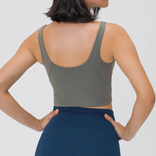 Load image into Gallery viewer, Take your active look from studio to street with this V Neck Crop Tank Top Longline Sports Bra - Smoky Green. Featuring v neckline and low cut scoop back, this fitted crop tank top is ideal for low impact activities, be it for workouts, running errands or lounging. With a 14-16 inch / 37-41 cm length, this cute longline sports bra kisses your high waisted pants, and is easy to layer. Perfect for low impact exercise like weight training, yoga, cycling, spinning, dancing and more.