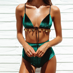 Velvet High Waisted Bikini Set