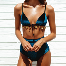 Load image into Gallery viewer, Velvet High Waisted Bikini Set