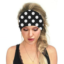 Load image into Gallery viewer, Hummingbird Vintage Printed Multifunctional Headband - Polka Dots Black offers a secure fit to hold your hair back, and along with moisture-wicking fabric, allows you to stay fresh and focused on your workout. Perfect for all sorts of workout activities. Also suitable for daily wear as a hair band, head wrap, bandana, face cover, morning makeup and nighttime moisturizing.