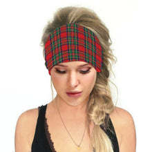 Load image into Gallery viewer, Hummingbird Vintage Printed Multifunctional Headband - Tartan Red offers a secure fit to hold your hair back, and along with moisture-wicking fabric, allows you to stay fresh and focused on your workout. Perfect for all sorts of workout activities. Also suitable for daily wear as a hair band, head wrap, bandana, face cover, morning makeup and nighttime moisturizing.