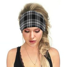 Load image into Gallery viewer, Hummingbird Vintage Printed Multifunctional Headband - Tartan Black offers a secure fit to hold your hair back, and along with moisture-wicking fabric, allows you to stay fresh and focused on your workout. Perfect for all sorts of workout activities. Also suitable for daily wear as a hair band, head wrap, bandana, face cover, morning makeup and nighttime moisturizing.