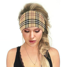 Load image into Gallery viewer, Hummingbird Vintage Printed Multifunctional Headband - Tartan Beige offers a secure fit to hold your hair back, and along with moisture-wicking fabric, allows you to stay fresh and focused on your workout. Perfect for all sorts of workout activities. Also suitable for daily wear as a hair band, head wrap, bandana, face cover, morning makeup and nighttime moisturizing.