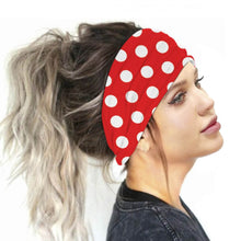 Load image into Gallery viewer, Hummingbird Vintage Printed Multifunctional Headband - Polka Dots Red offers a secure fit to hold your hair back, and along with moisture-wicking fabric, allows you to stay fresh and focused on your workout. Perfect for all sorts of workout activities. Also suitable for daily wear as a hair band, head wrap, bandana, face cover, morning makeup and nighttime moisturizing.