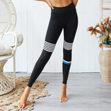 Hummingbird Vintage Striped Cropped Leggings with asymmetric white and blue stripes on them. Perfect workout wear.