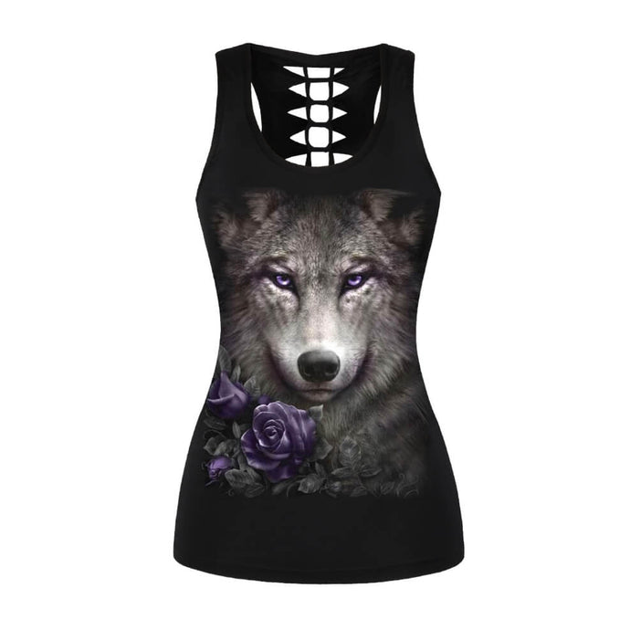 Hummingbird Wolf Rose Braided Cutout Racerback Tank Top - Front