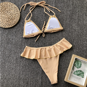 Yellow Striped Ruffled Bikini Set