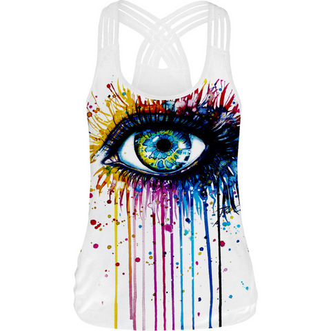 Hummingbird rainbow Paint Eye Strappy Crisscross Tank Top