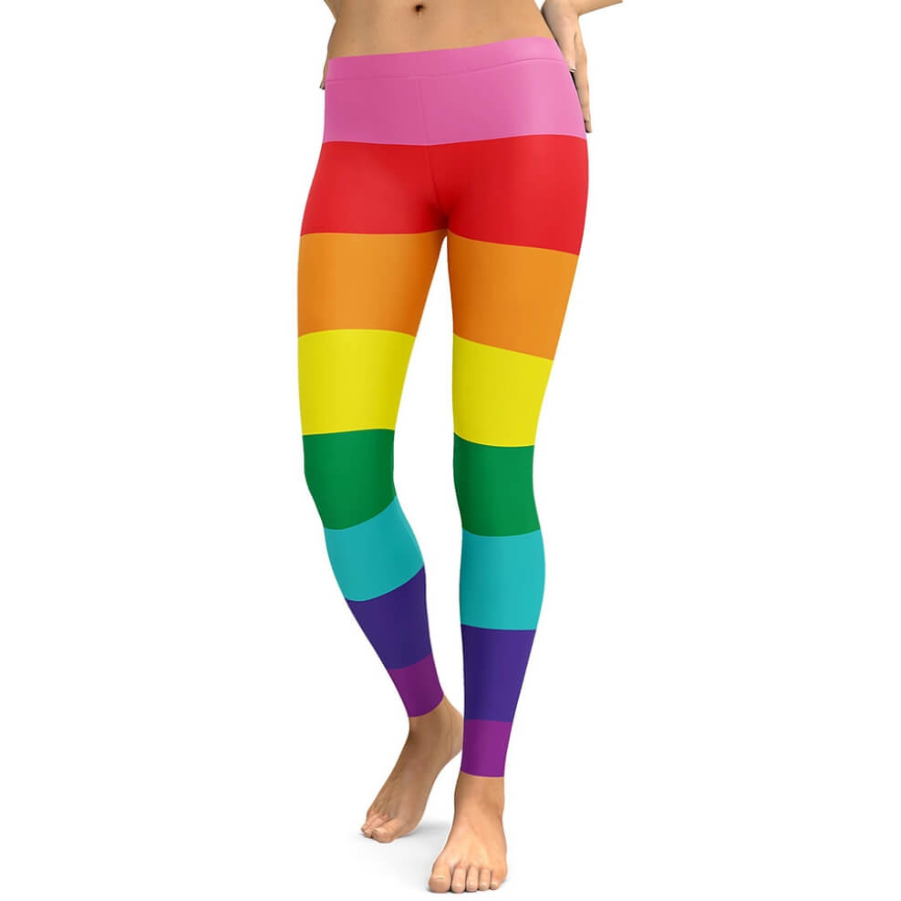 Hummingbird Rainbow Striped Leggings - Front