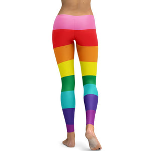 Hummingbird Rainbow Striped Leggings - Back