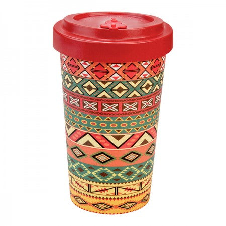 TAZZA IN BAMBOO WINTER AZTEC ORANGE RED 500ML