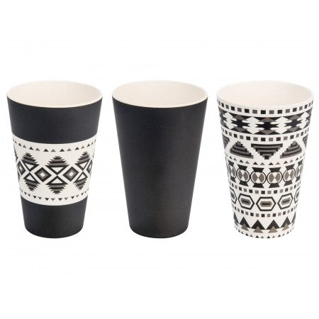 SET 3 TAZZE IN BAMBOO AZTEK WHITE BLACK