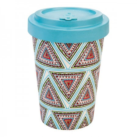 TAZZA IN BAMBOO WINTER AZTEC BLU TURQUOISE BLU 400ML