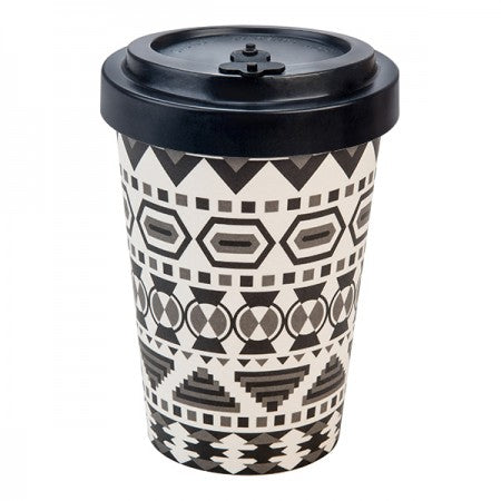 TAZZA IN BAMBOO WINTER AZTEC WHITE BLACK/BLACK 400ML