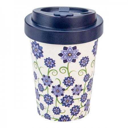 TAZZA IN BAMBOO BOUQUET OF FLOWERS BLU 300ML