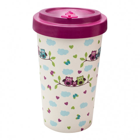 TAZZA IN BAMBOO OWLS PURPLE 500ML