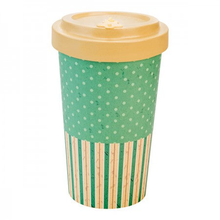 TAZZA IN BAMBOO RETRO DOTS/LINE BEIGE 500ML