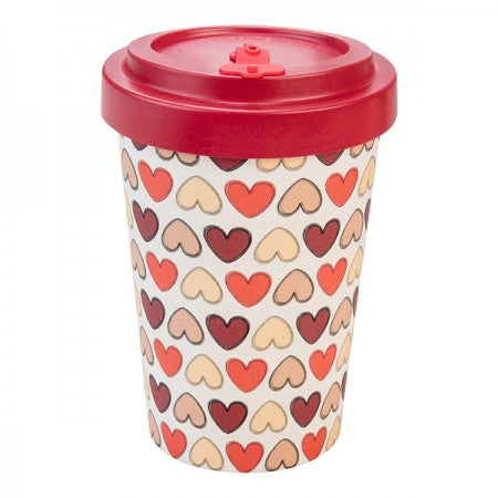 TAZZA IN BAMBOO RETRO HEARTS 400ML