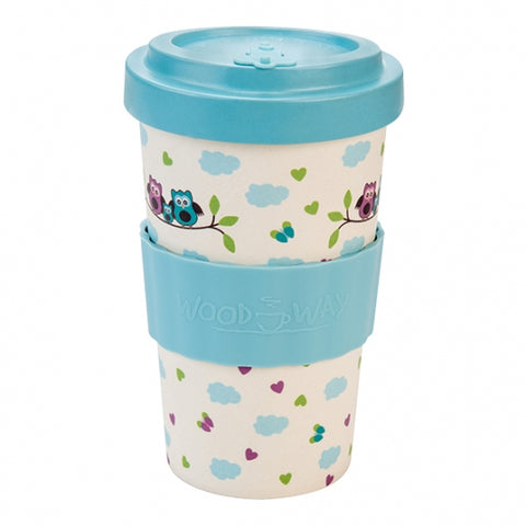 TAZZA IN BAMBOO OWLS BLUE 500ML