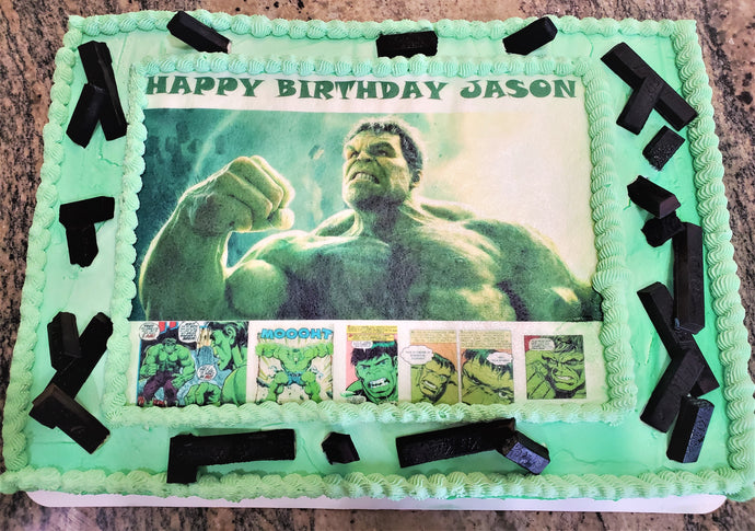 Half Sheet Vanilla Happy Birthday Hulk Cake