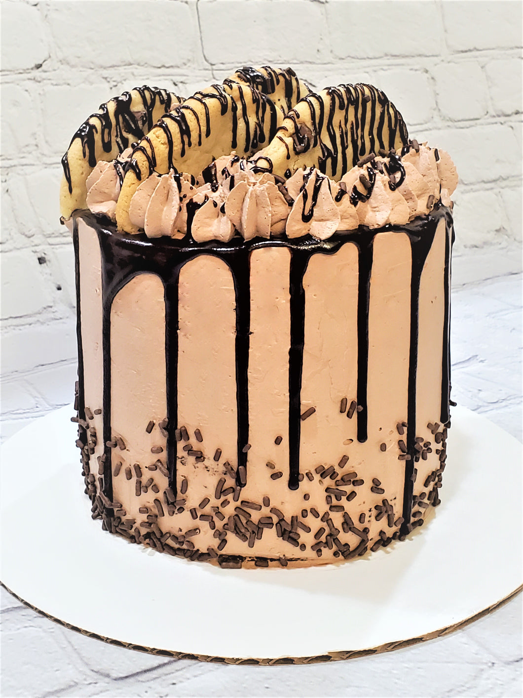 CHOCOLATE CHIP BIRTHDAY CAKE WITH WHIPPED CHOCOLATE BUTTERCREAM