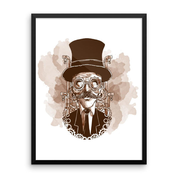 Steampunk Man Vintage Framed poster - Coutfits