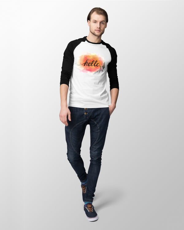 Hello 3/4 sleeve raglan shirt for Men - Coutfits