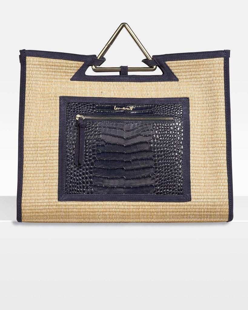 We Eat Avocado Toast Bags Shopper Raffia Croco Blue