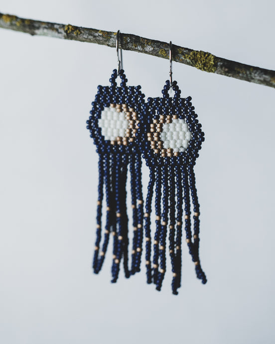 Beaded moon earrings in navy