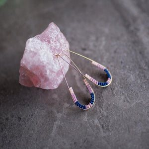 Pink Beaded teardrop hoops