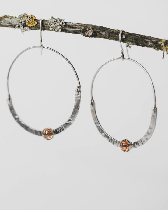 Sterling Hoop earrings with faceted orange stone